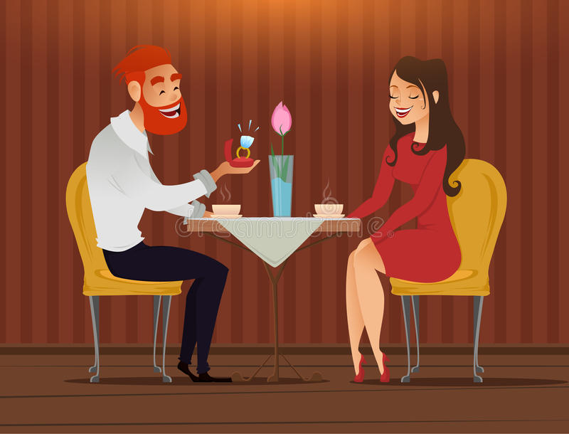 Couple in love, romantic evening in restaurant or cafe, young man presents ring with big diamond to his beloved. Long shot. Date. royalty free illustration