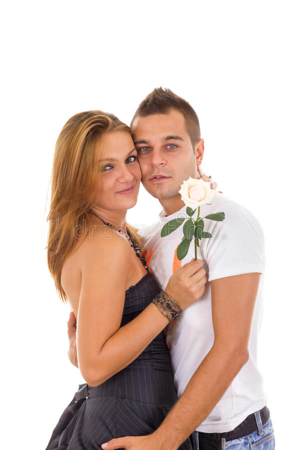 Couple in love with rose between stock photo