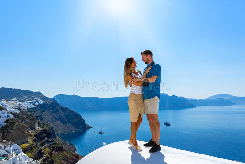 Couple in love on Santorini. Island, Greece stock photography