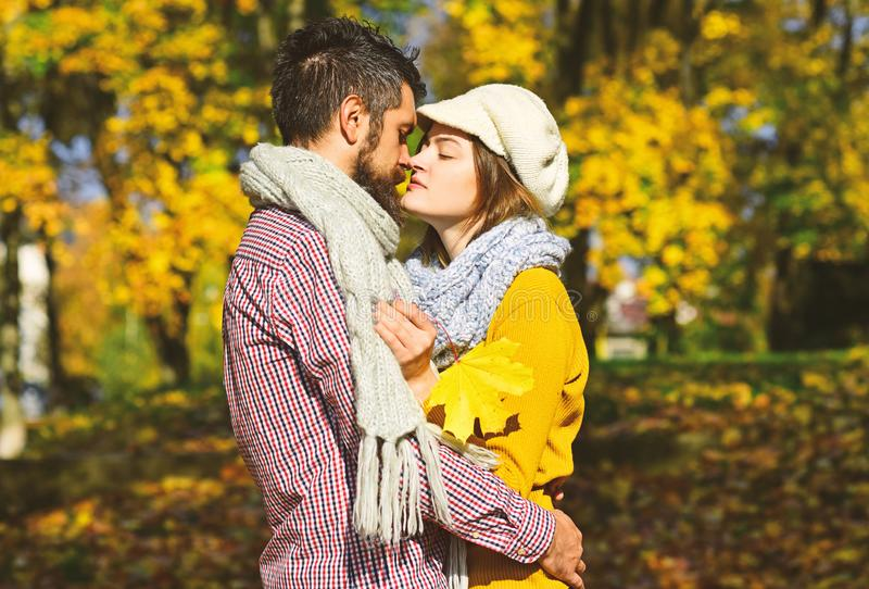 Couple in love with scarves holds yellow leaf. Girl and bearded guy or happy lovers on a date kiss and hug. Romance and sunny fall mood concept. Man and women royalty free stock photography