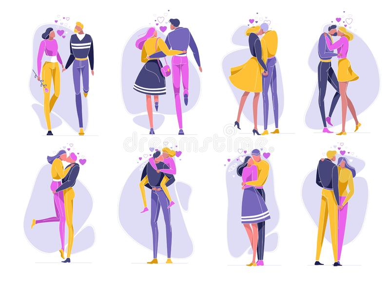 Couple in Love in Scenes, Romantic Relations. Couple in Love in Different Positions Flat Cartoon Vector Illustration. Girl with Flower and Boy Walking Holding vector illustration