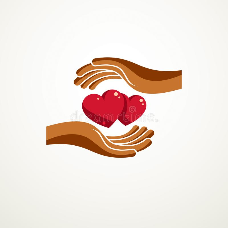 Couple in love simple vector logo or icon created with red glossy hearts and care protecting hands. Tender and loving relationship. Of man and woman, boyfriend royalty free illustration