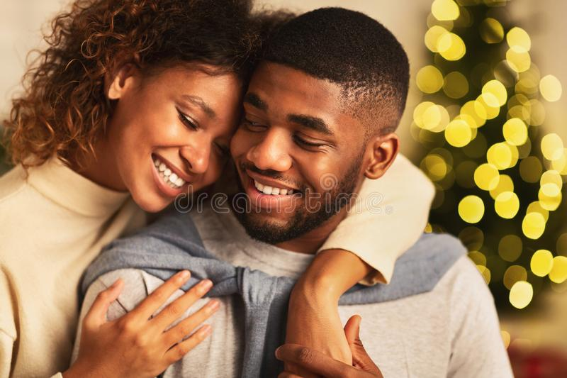Couple in love spending christmas eve together royalty free stock photo