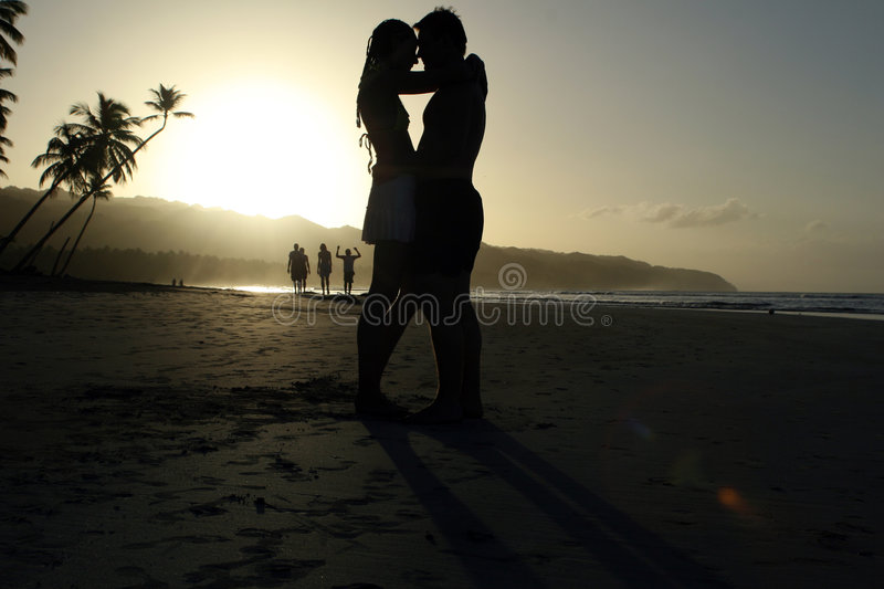 Couple in Love by Sunset royalty free stock image