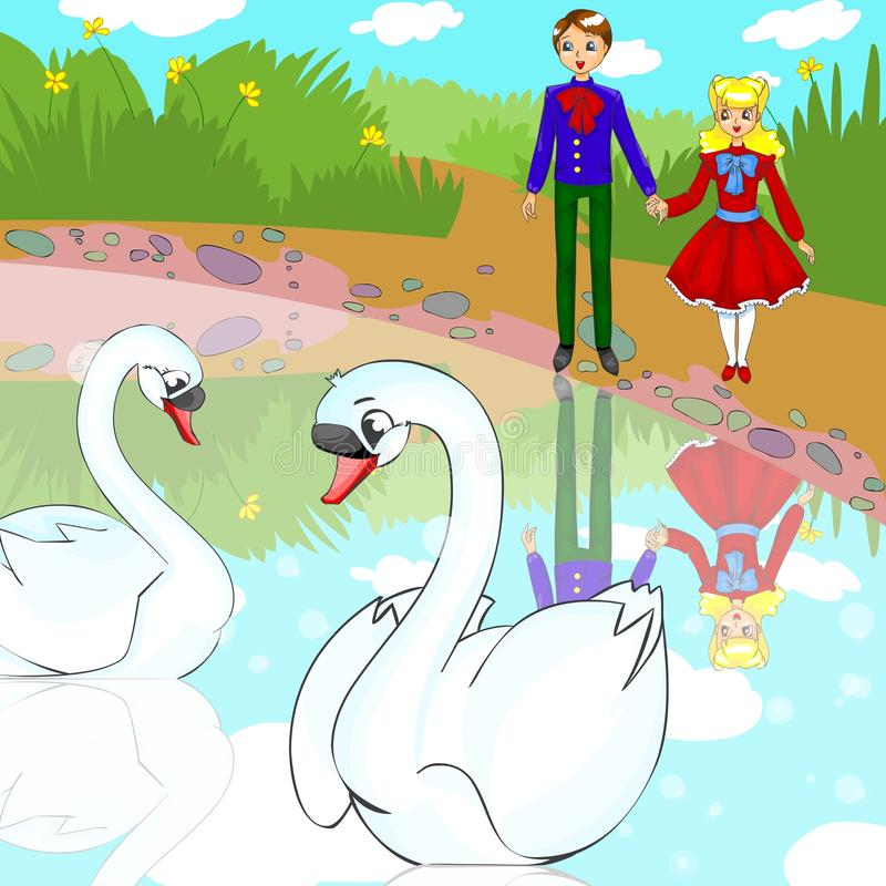 Couple in love swans vector illustration