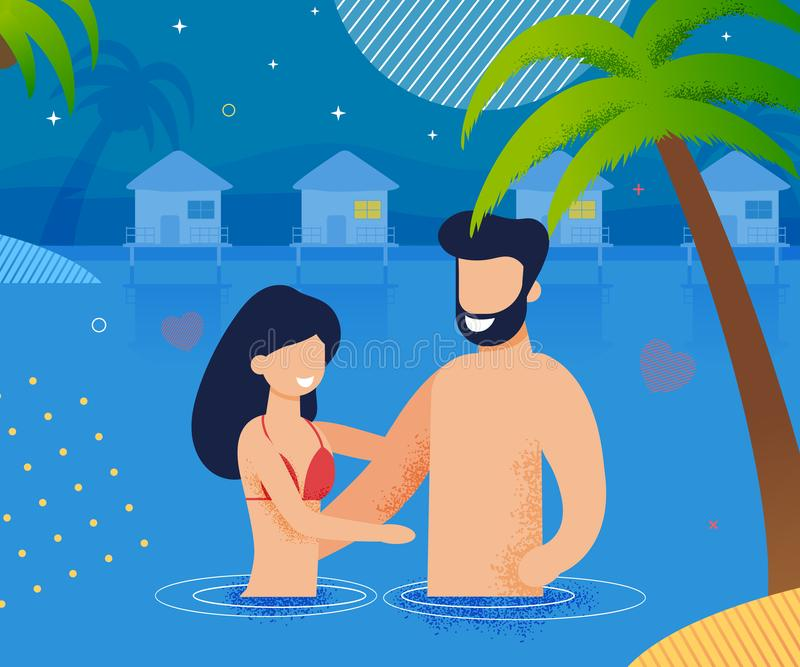 Couple in Love Swimming in Ocean at Night Cartoon royalty free illustration