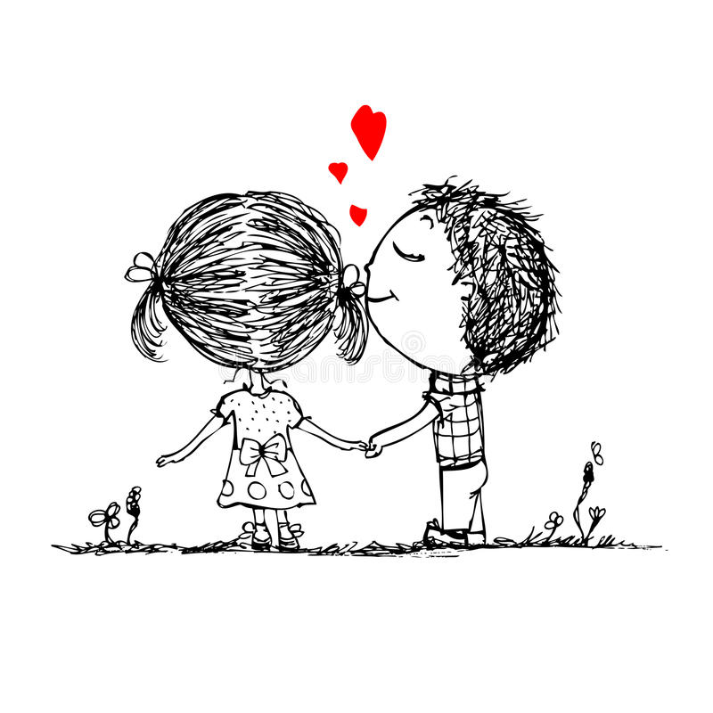 Couple in love together, valentine sketch for your royalty free illustration