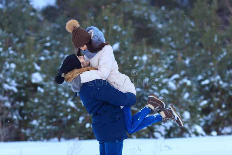 Couple in love together during winter holidays royalty free stock photos