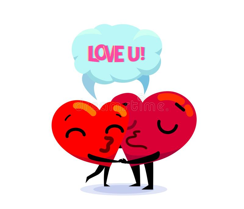 Love Each Other Cartoon: Couple In Love. Two Funny Cartoon Hearts Kiss Each Other