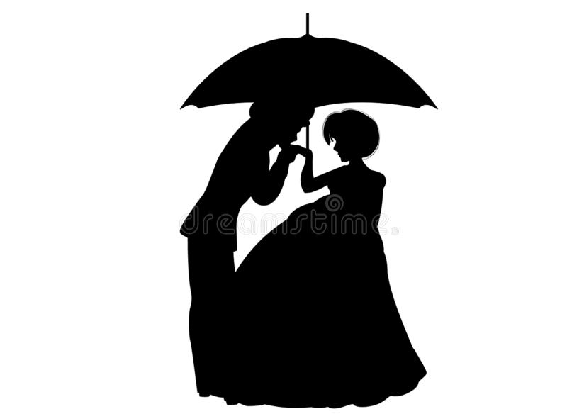Couple in love under umbrella silhouette on white background vector illustration