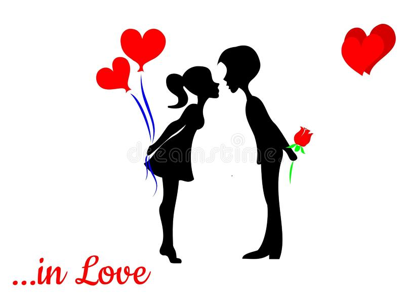 Couple in love valentine card sketch royalty free illustration