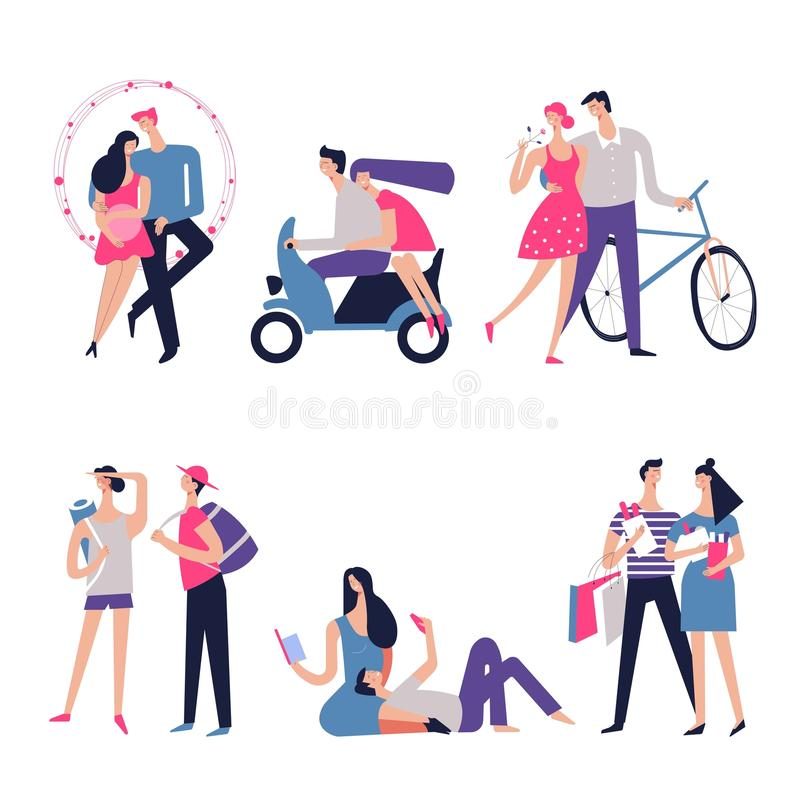 Couple in love vector romance dating relations. Couple in love or dating with romance relations. Vector young man and woman together in hearts or riding bicycle royalty free illustration
