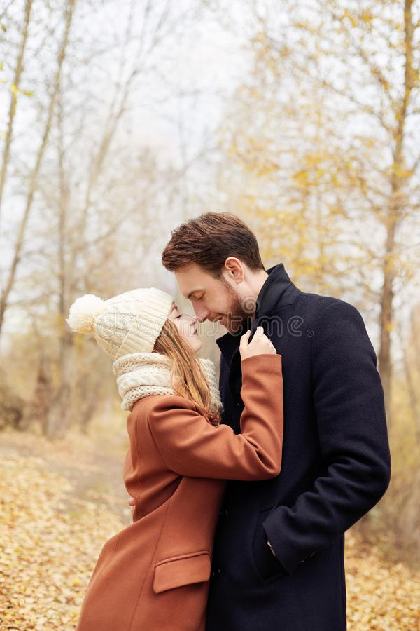 Couple in love walking in the autumn Park, cool fall weather. A man and a woman embrace and kiss, love and affection yellow autumn royalty free stock photography