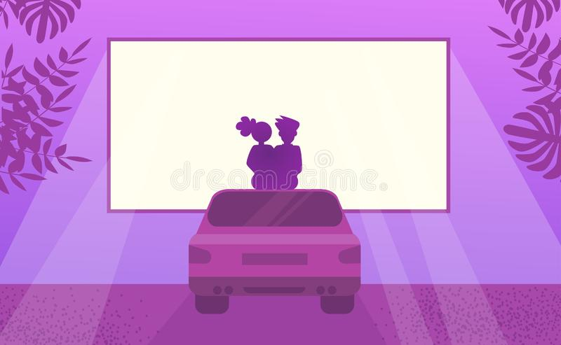 Couple in love watching movie sitting on car. Outdoor cinema Night royalty free illustration