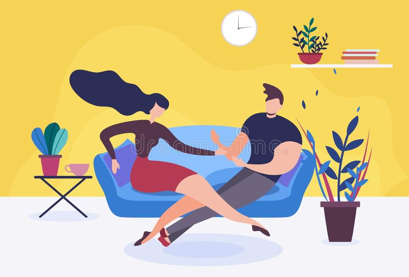 Couple in Love or Wife and Husband Sit on Sofa vector illustration