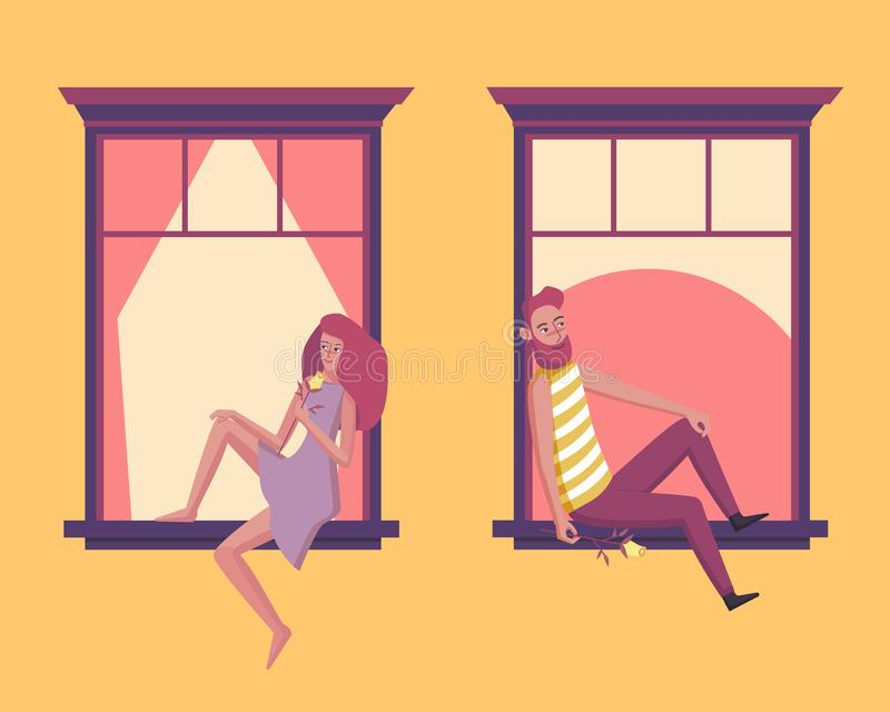 Couple in love in the window. Lovely young girl and man holding flower. Design for romantic card. Vector illustration royalty free illustration