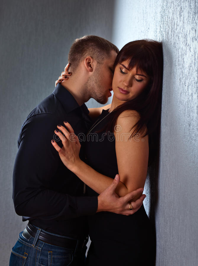 Couple in love. The young beautiful couple in love royalty free stock image