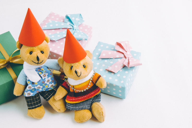 A couple Lovely bear are waiting santa claus with christmas decoration. Christmas party. Christmas decoration with Lovely bear, a gift, christmas tree and stock photos