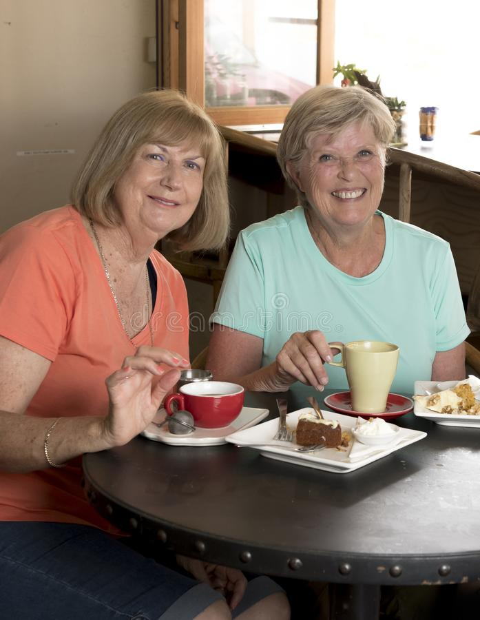 Couple of lovely middle age senior mature women girlfriends meeting for coffee and tea with cakes at coffee shop sharing time stock image