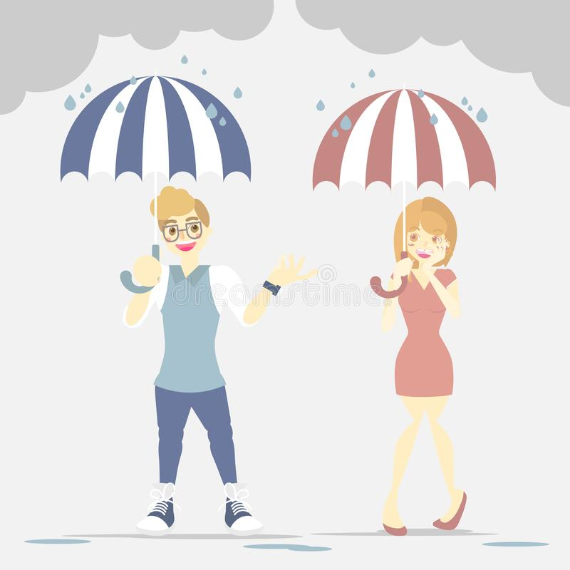 Couple lover man and woman standing, holding umbrella in rainy day season royalty free illustration