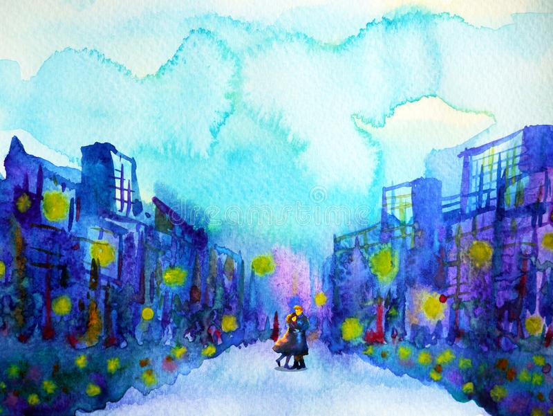 Couple lover model sweet hug kissing in blue city urban background. Watercolor painting illustration design hand drawn stock illustration