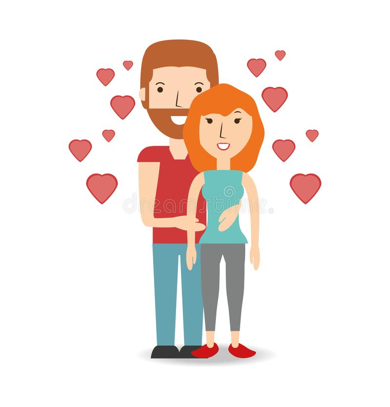 Couple lover and romantic relationship with hearts. Vector illustration stock illustration