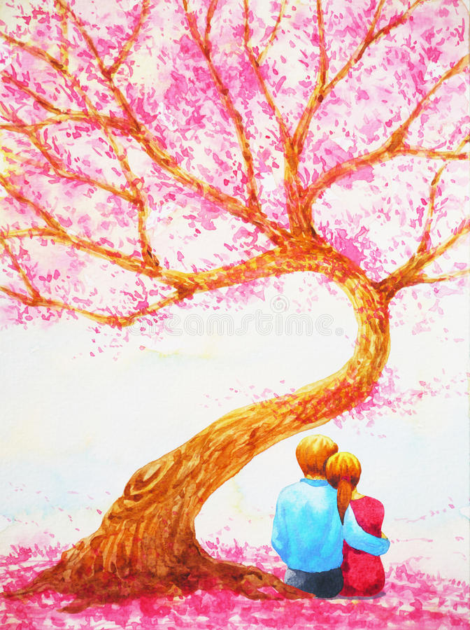 Couple lover sitting under love tree valentines day watercolor painting vector illustration