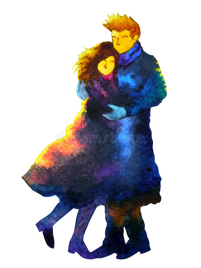 Couple lover sweet hug kissing in winter cold cool coat watercolor painting. Illustration design hand drawn stock illustration