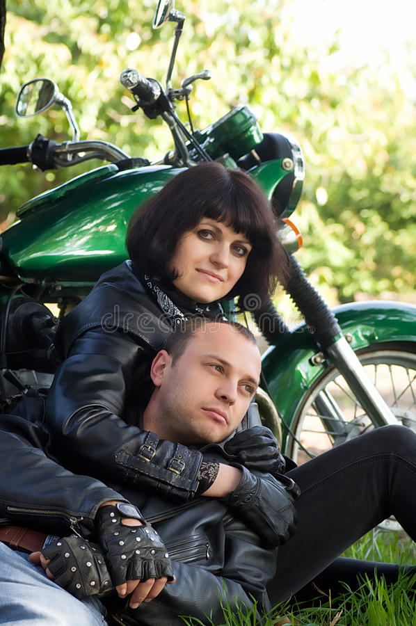 Download Couple of lovers stock image. Image of male, nature, bike - 27462277