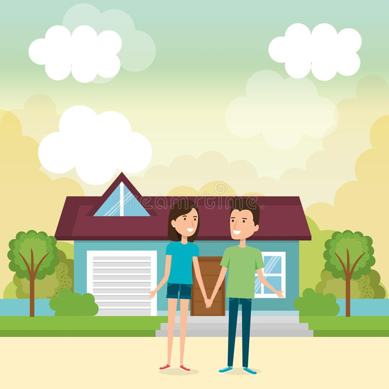 Couple of lovers away from home royalty free illustration