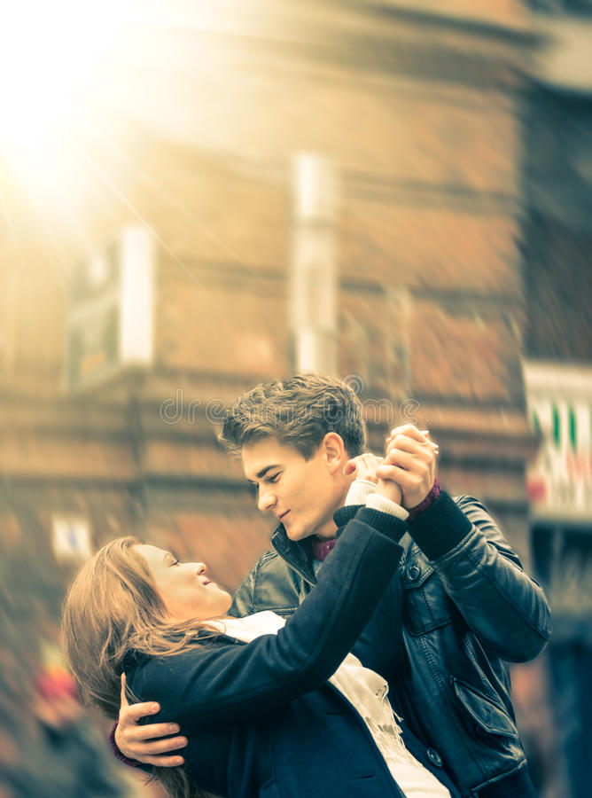 Download Couple Of Lovers Dancing On The Street Stock Photo - Image of happy, romance: 37082134