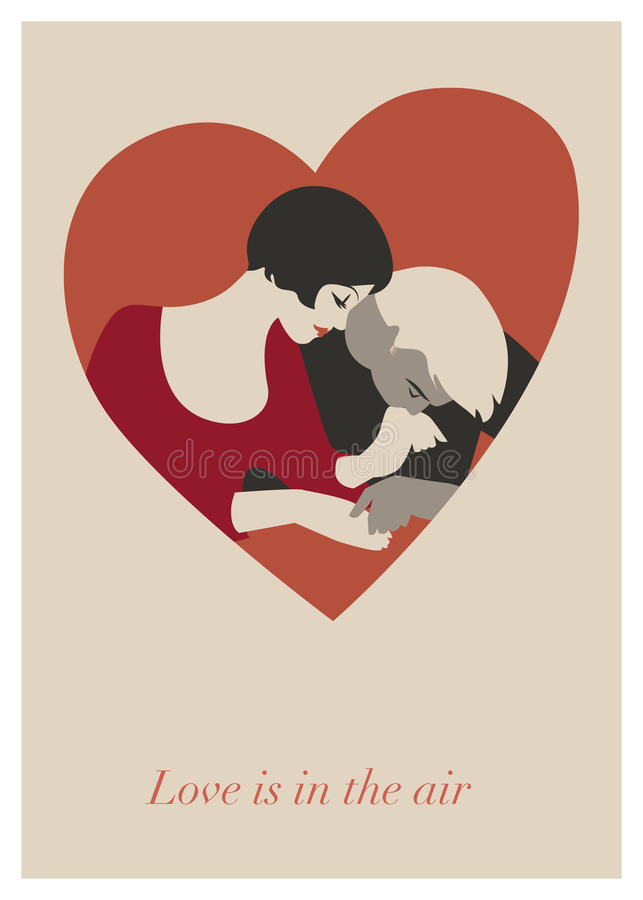 Couple of lovers in a heart. Valentine`s Day Card. vector illustration
