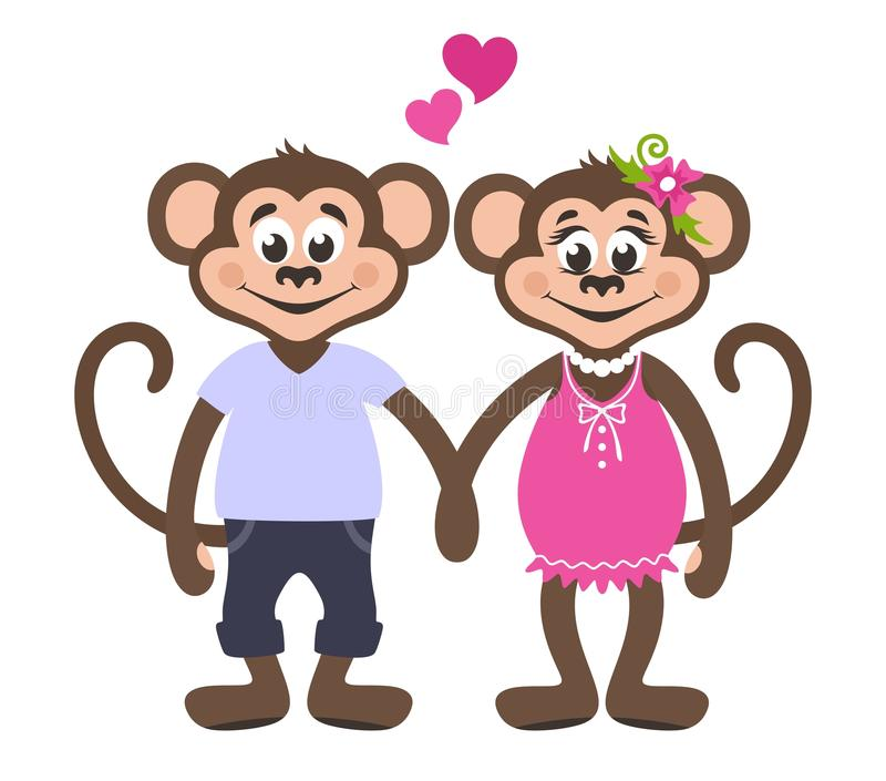 Couple of loving monkeys. Girl in a pink dress with a flower. A boy in a blue T-shirt and jeans. royalty free illustration