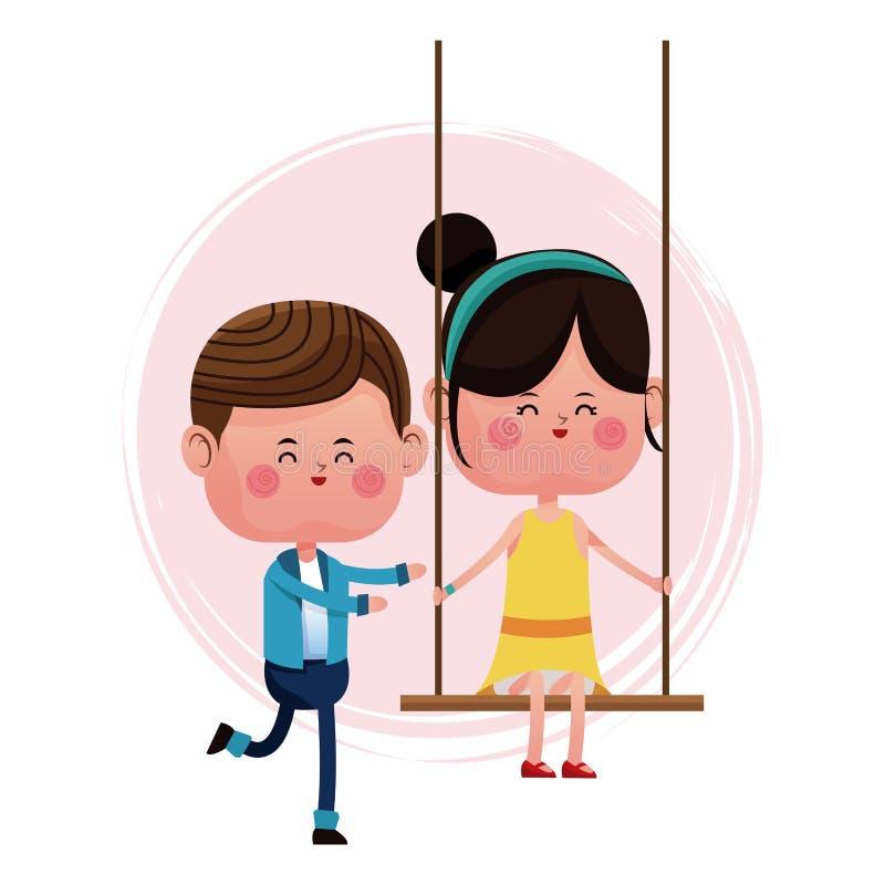 Couple loving pushing girl swing vector illustration
