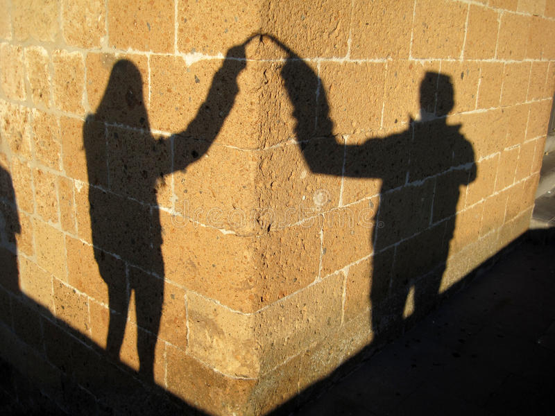 Couple loving shadow stock image