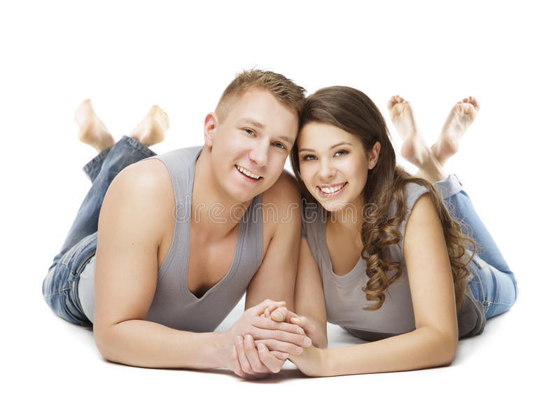 Couple Lying over White Background, Young Adult Man Woman stock images