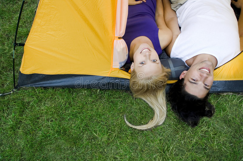 Couple Lying In Tent Royalty Free Stock Image