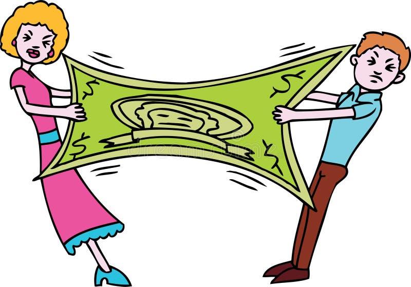 Couple makes dollar stretch stock illustration