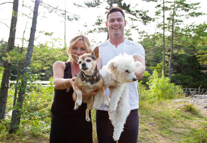 Couple makes thier dogs fly stock photos