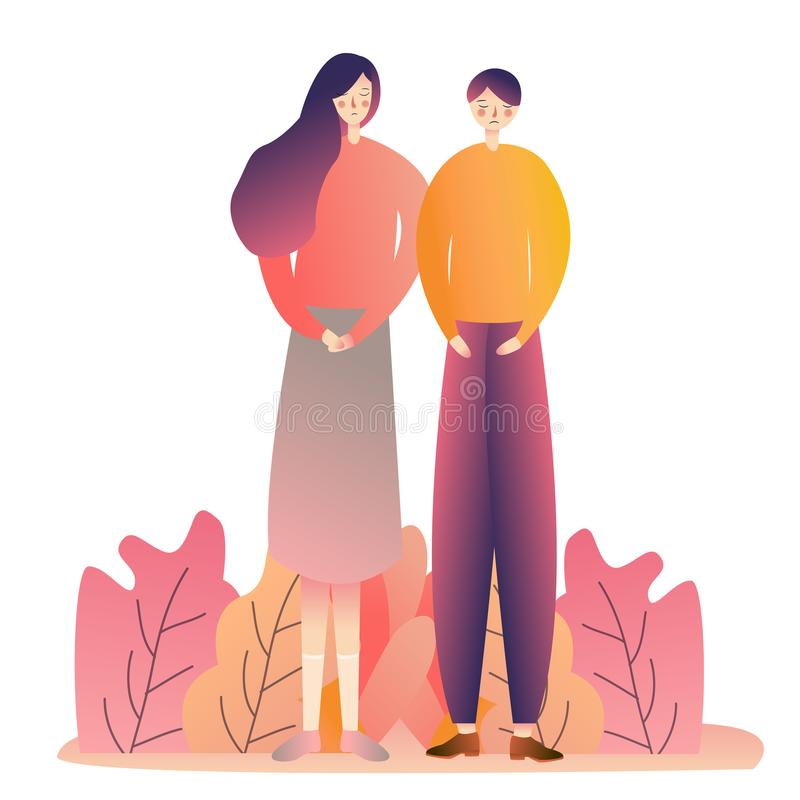 Couple male female standing romance love dating social. Gradient line vector illustration of people. Graphic stock illustration