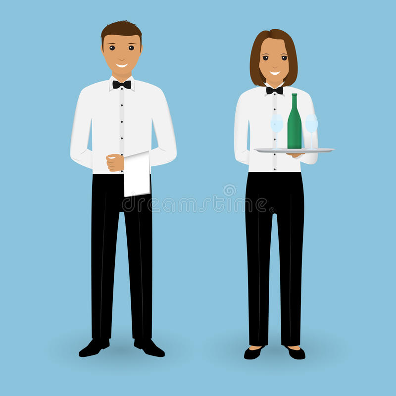 Couple of male waiter and female waitress with dishes and in uniform. Restaurant team concept. Food service staff. stock illustration