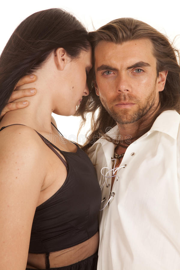 Couple man looking hand on womans neck royalty free stock photos