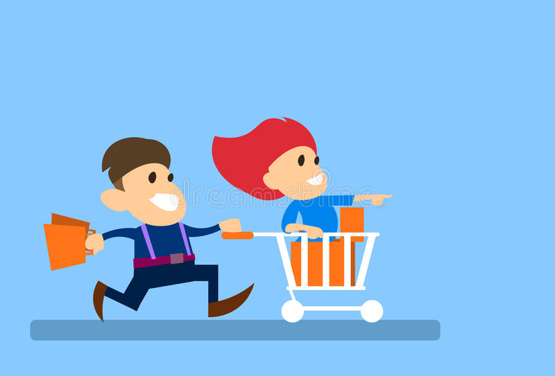 Couple Man Run With Woman Sit In Shopping Cart Trolley Sale Concept. Vector Illustration royalty free illustration