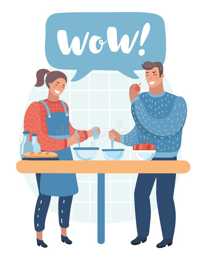Couple man and woman characters preparing food together. Vector flat cartoon illustration royalty free illustration