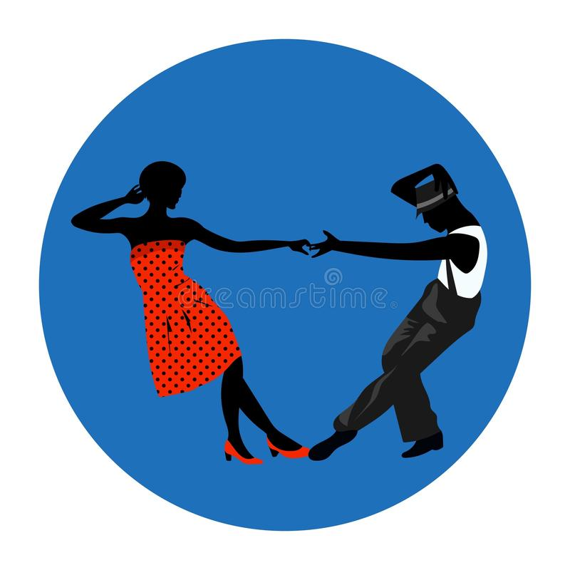 Couple man and woman dancing, vintage dance, black silhouettes and color dress up vector illustration