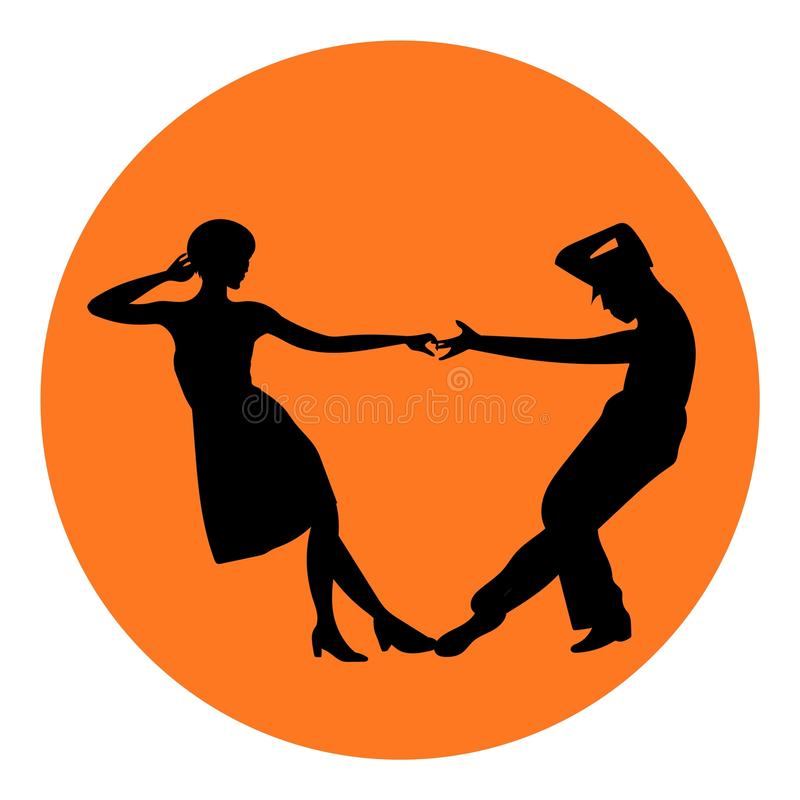 Couple man and woman dancing, vintage dance, black silhouettes stock illustration