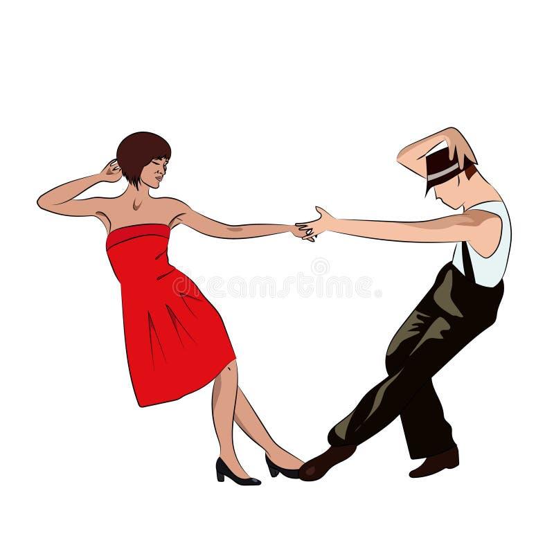 Couple man and woman dancing, vintage dance, pop art retro comic book illustration vector illustration