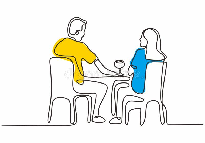 Couple of man and woman eating vector illustration. Continuous one line drawing single hand drawn sketch design. People, food, isolated, drink, lifestyle vector illustration