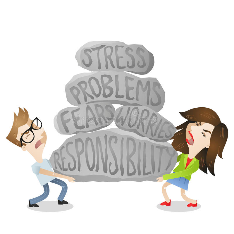 Couple man woman problems fears stress. Vector illustration of cartoon characters: Young man and woman, couple, lifting heavy rocks labeled stress, problems stock illustration