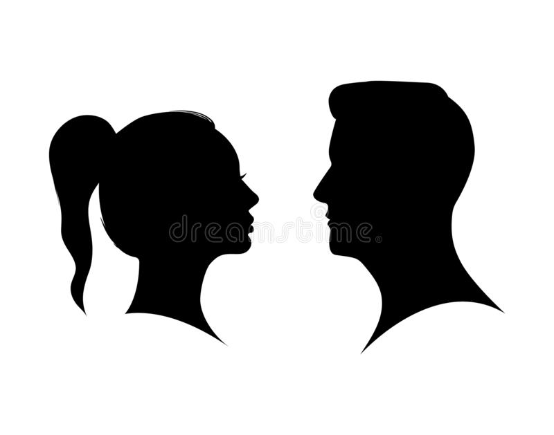 Couple man and woman profile silhouette face to face. Male and female head black shadow. Anonymous concept. Beauty boy and girl vector illustration